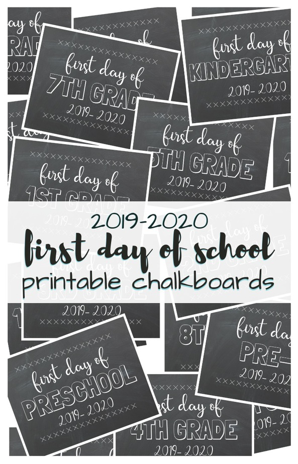 picture relating to Free Chalkboard Printable identified as To start with Working day of Higher education No cost Printable Chalkboards 2019-2020