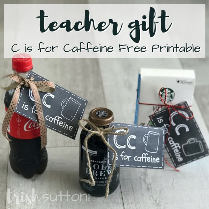Teacher Gift | C is for Caffeine Free Printable Gift for Teachers, TrishSutton.com