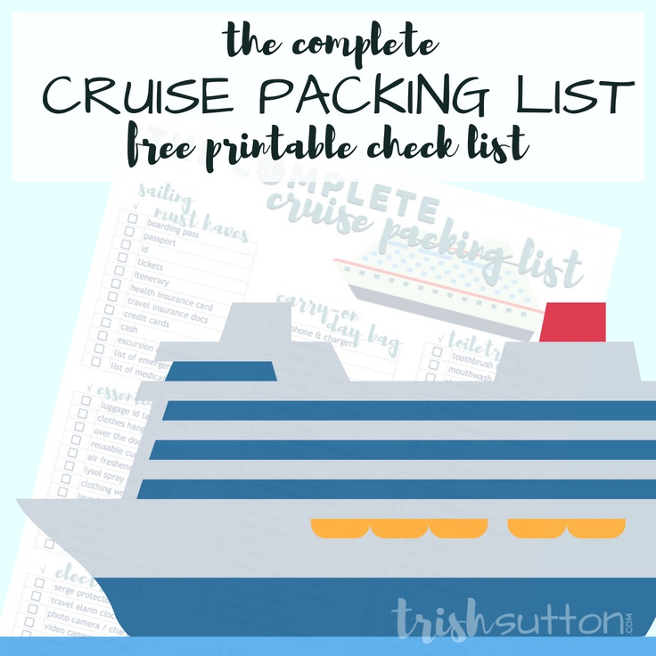 graphic regarding Printable Cruise Packing List identified as Cruise Packing Record Free of charge Printable Thorough Cruise Packing