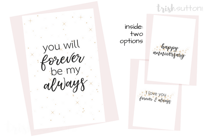 Printable Romantic Greeting Cards | Everyday Love + Anniversary Cards