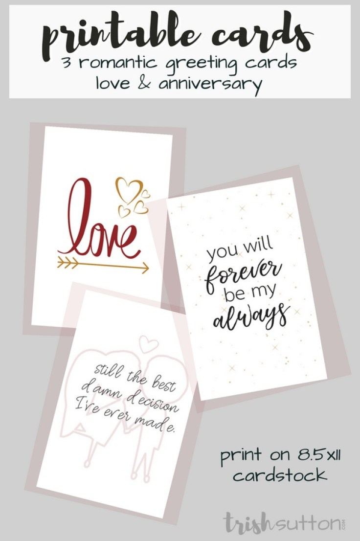 Printable Romantic Greeting Cards | Everyday Love + Anniversary Cards; TrishSutton.com