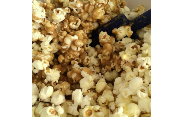 Sweet & simple Caramel Popcorn that can be made chewy or crunchy in very little time. My favorite caramel popcorn recipe. TrishSutton.com