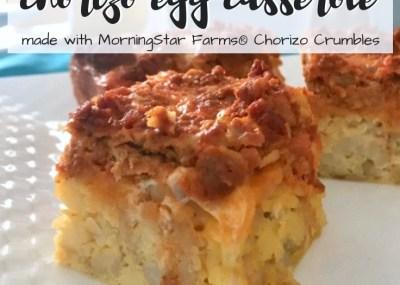 Family breakfast & holiday brunch is made easy with this Chorizo Egg Casserole Recipe. TrishSutton.com #TasteIt2BelieveIt#MorningStarFarms #CollectiveBias AD