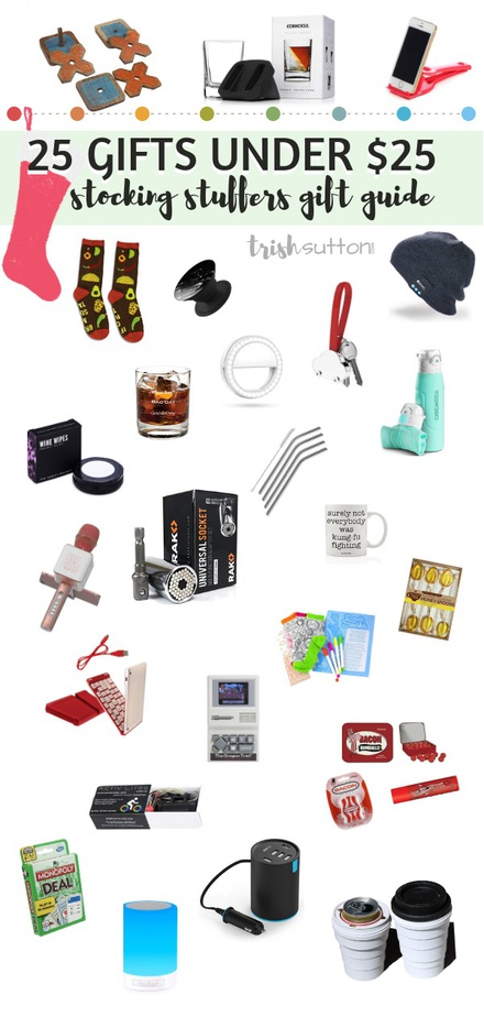 Stocking Stuffers Gift Guide | 25 Small Gifts Under $25 TrishSutton.com #giftguide #Christmas #stockingstuffers #giftsforher #giftsforhim