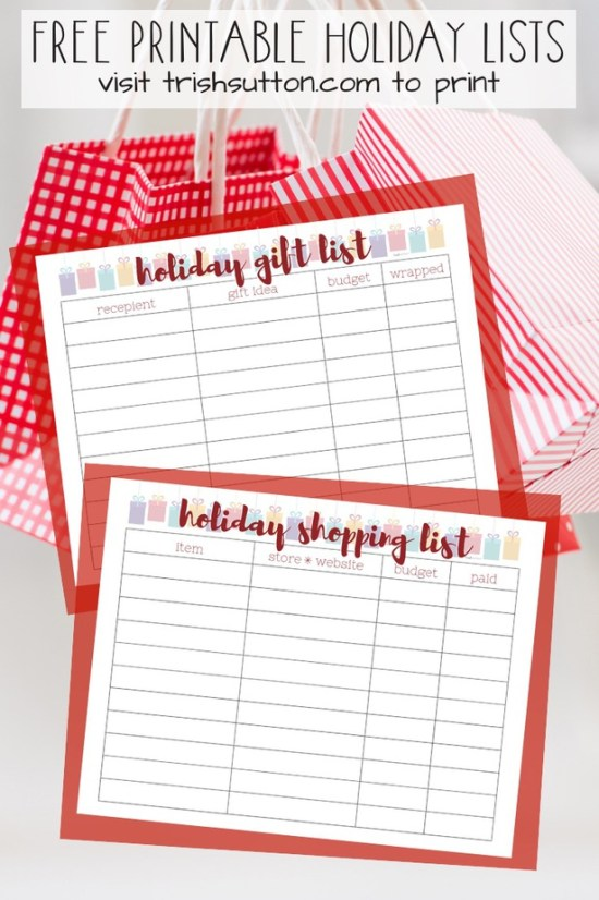 Free Printable Holiday Lists; get organized this Christmas with gift giving lists. Shopping list and gift idea list freebies by TrishSutton.com. #christmas #giftlist #freeprintable #holiday #shopping
