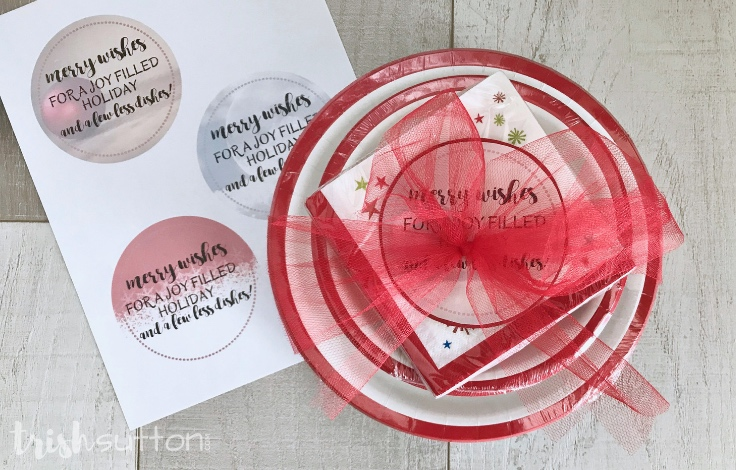 Christmas Dishes Gift Merry Wishes Printable | TrishSutton.com