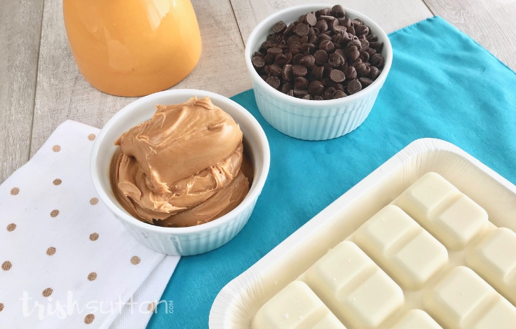 Make a crowd pleasing treat in just minutes with this incredibly easy Chocolate Peanut Butter Bark Recipe.TrishSutton.com