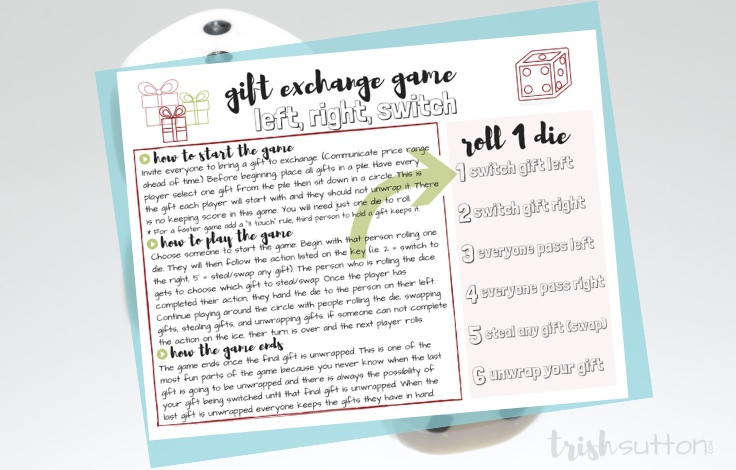 photo about Left Right Games Printable called Xmas Present Replace Sport Plans For People 30 Xmas