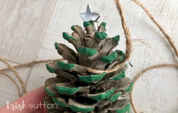 Create festive winter decor with just pinecones, craft paint & jute. Simple DIY Winter Decor; Pinecone Christmas Garland.TrishSutton.com