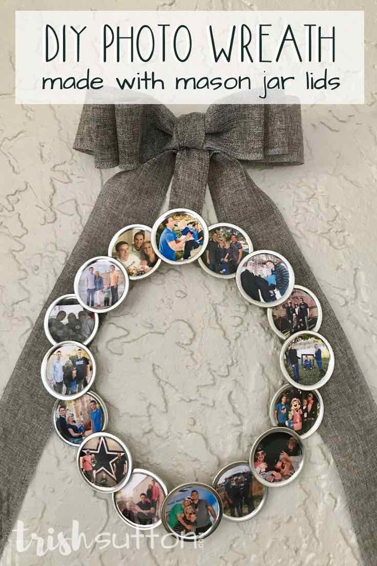 Create a DIY Photo Wreath using Mason jar lids and family photos. Share this sentimental circle of memories as a gift. Give it as a gift for birthdays, Mother's day, Grandparent's day or Christmas. #wreath #photo #bytrishsutton