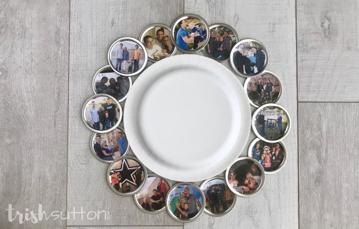 DIY Photo Wreath Mason Jar Lids; TrishSutton.com
