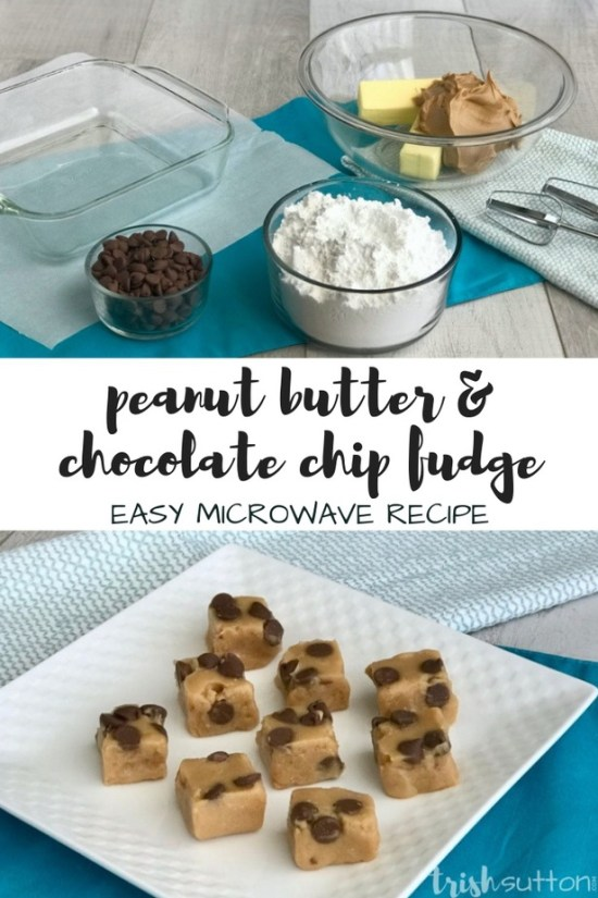 Create creamy peanut butter chocolate chip fudge in just five minutes with this five ingredient easy microwave recipe.