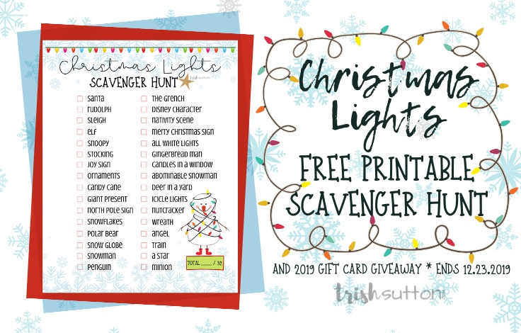 Christmas Lights Scavenger Hunt Free Printable