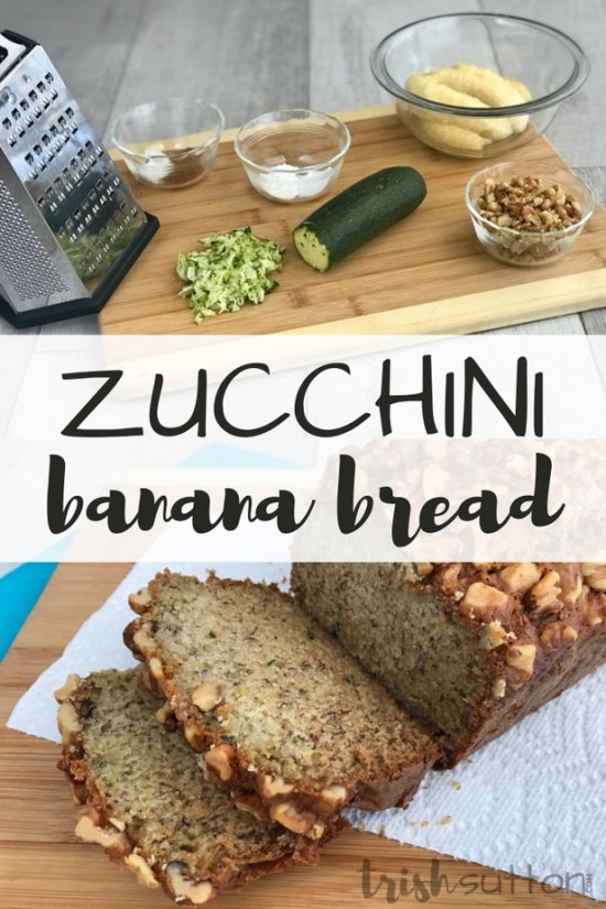 Zucchini Banana Bread ingredients on wood cutting board