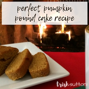 Pumpkin Pound cake on a white plate in front of a fire