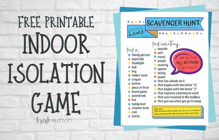 Copy of a printable Indoor Scavenger Hunt for Kids on a brick background.