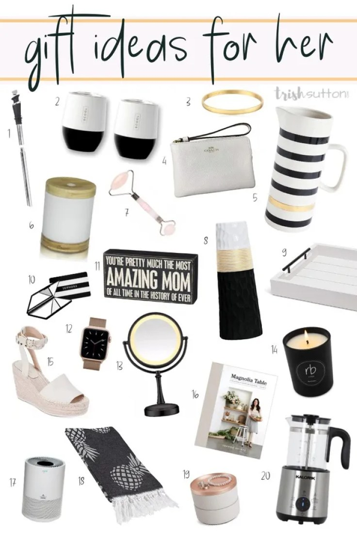 Twenty Gift Ideas for Her that will make perfect Mother's Day gifts, birthday and Christmas gifts.