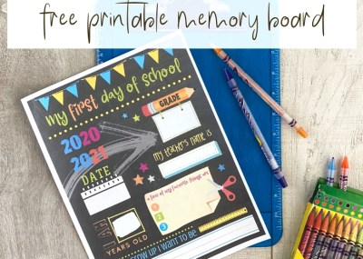 Memory Board Printable with crayons on a wood background.