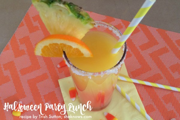 "Halloween Party Punch by TrishSutton.com; Nothing says ""Halloween"" like Candy Corn. And nothing says ""Party"" like a cocktail! Halloween party punch is the adult version of classic candy corn."