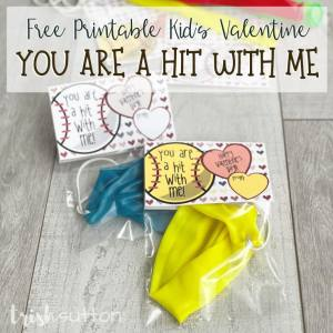 "Share a sports themed Kids Valentine with these ""You Are a Hit With Me"" free printable notes paired with a baseball or softball treat."