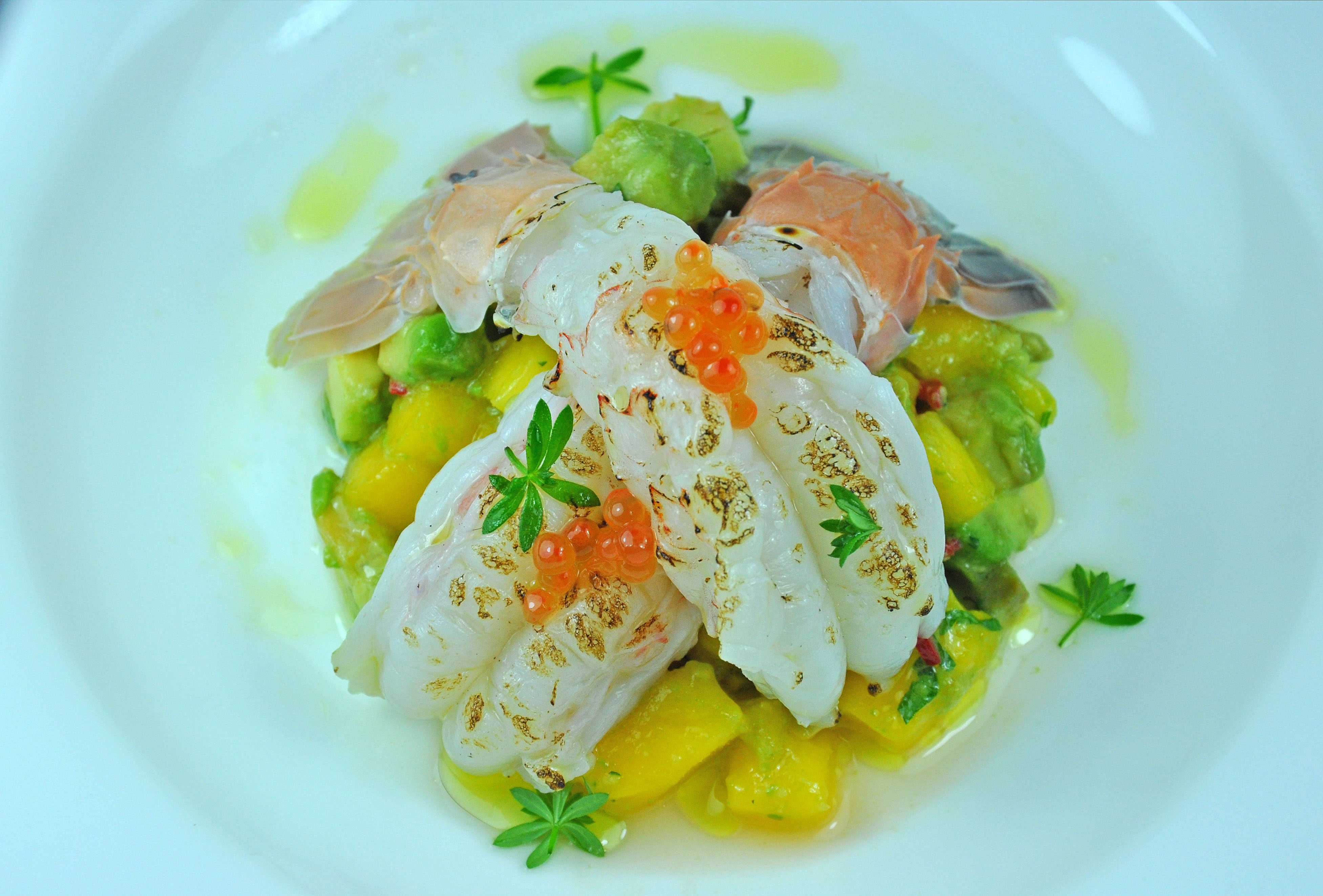 Blow Torched Scampi with Mango and Avocado Salsa