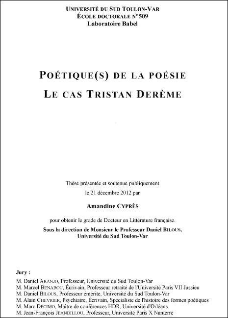 Le cas Tristan Derème d'Amandine Cypres