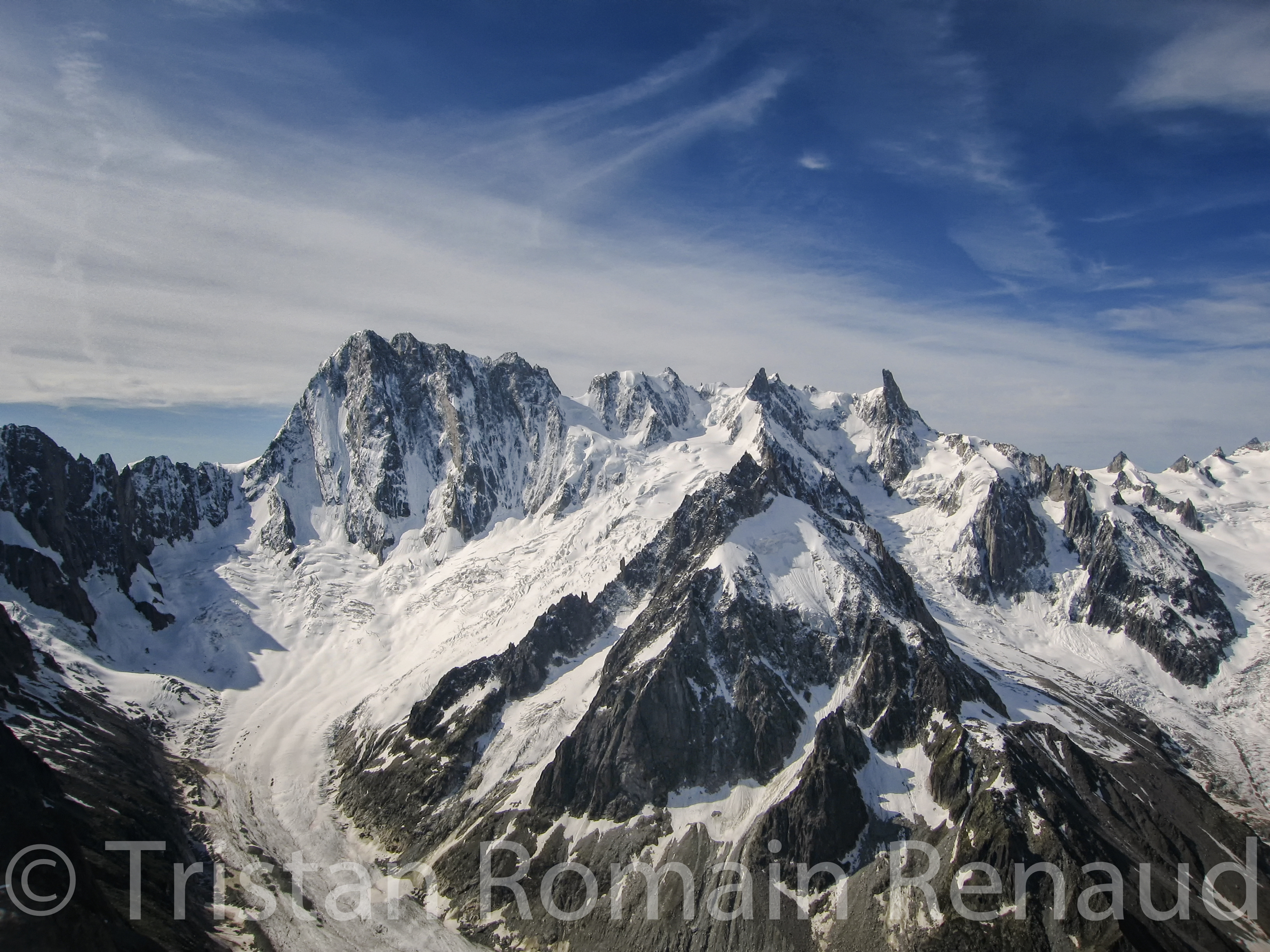 "The mythical North Face of Les Grandes Jorasses during the climbing of the summit ""Le Moine"". Massif du Mont-Blanc."