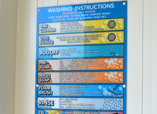 Self Serve Car Wash Bay Instructions Signage distributed by Tri State Car Wash Solutions