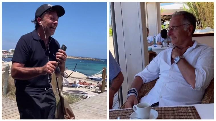 Sonia Brugi con Paolo Bonolis e Roberto Cenci a Formentera risate al tavolo del bar