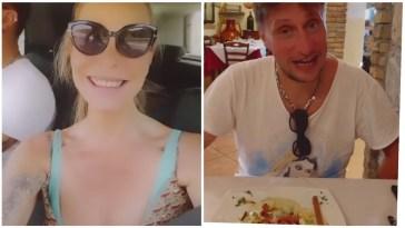 Stefania Orlando e Simone in viaggio per la vacanza fanno tappa per il pranzo