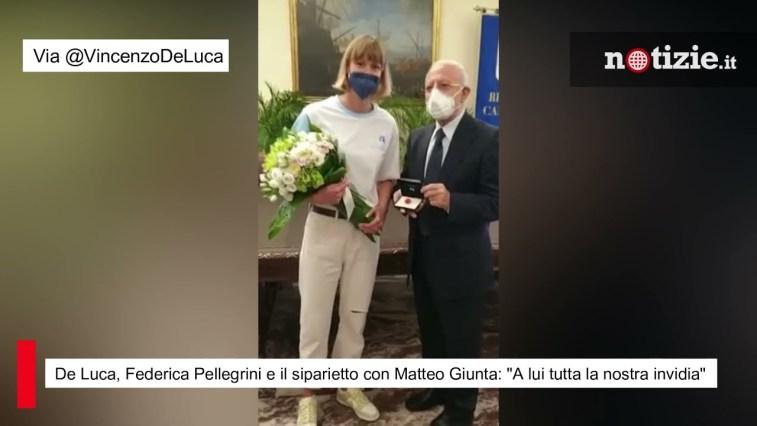 """De Luca, Federica Pellegrini e il siparietto con Matteo Giunta: """"A lui tutta la nostra invidia"""""""