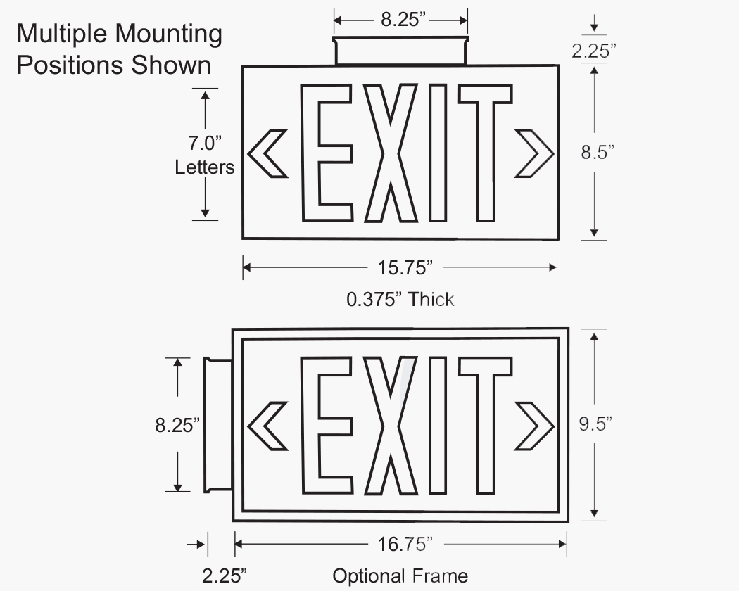 Photoluminescent Exit Sign Single Face Green Letters