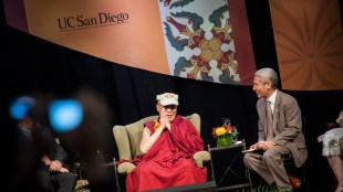 UC San Diego hosted the 14th Dalai Lama, the spiritual leader of Tibet, April 18, 2012 in RIMAC Arena. (Photo courtesy of UCSD Publications)