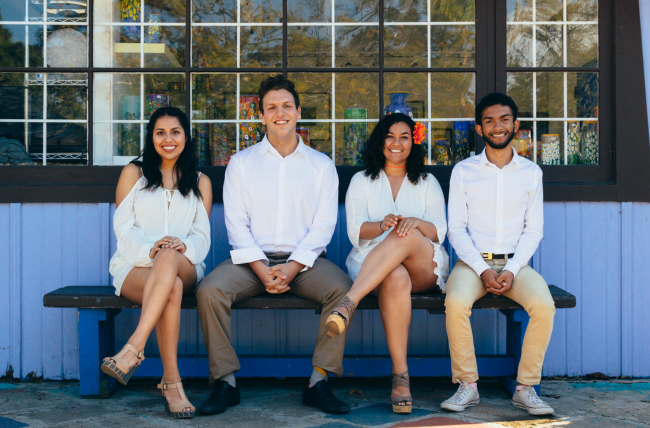 From left to right, THRIVE candidates Itsi T Sanchez Rea, Kian Falah, MóNica Valdez, and Mohamed Al Elew.