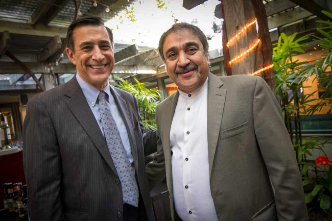 Congressman Darrell Issa (left) pictured with UCSD Chancellor Pradeep Khosla (right) at a reception on May 11 celebrating the University's Veteran Entrepreneur Initiative. Issa represents UCSD in California's 49th congressional district.