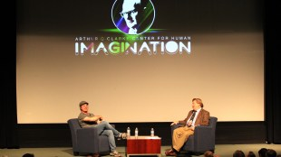 Novelist Andy Weir speaks at the UC San Diego Price Center Theater in La Jolla, California on Thursday, Dec. 7, 2017. (Rishi Deka/The Triton)