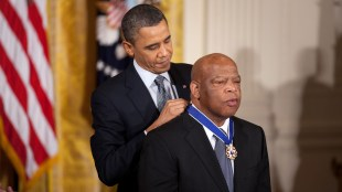 President Barack Obama awards the 2010 Presidential Medal of Freedom to Congressman John Lewis in a ceremony in the East Room of the White House, Feb. 15, 2011.  (Official White House Photo by Lawrence Jackson)