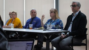 From left to right on the panel: Russell King, HDH Associate Director of Strategic Initiatives; Lisa Joy, Professional Development Manager for Dining; Alex Wiley, Senior Food Service Manager, Kim McErlain, Manager for 64north; Matt Seiler, Manager for 64 degrees. (Connor Gorry / The Triton)