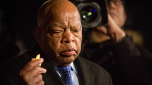 Rep. John Lewis at Supreme Court news conference to call for the reversal of President Trump's travel ban. Photo courtesy of Lorie Shaull.  Link to photo license.