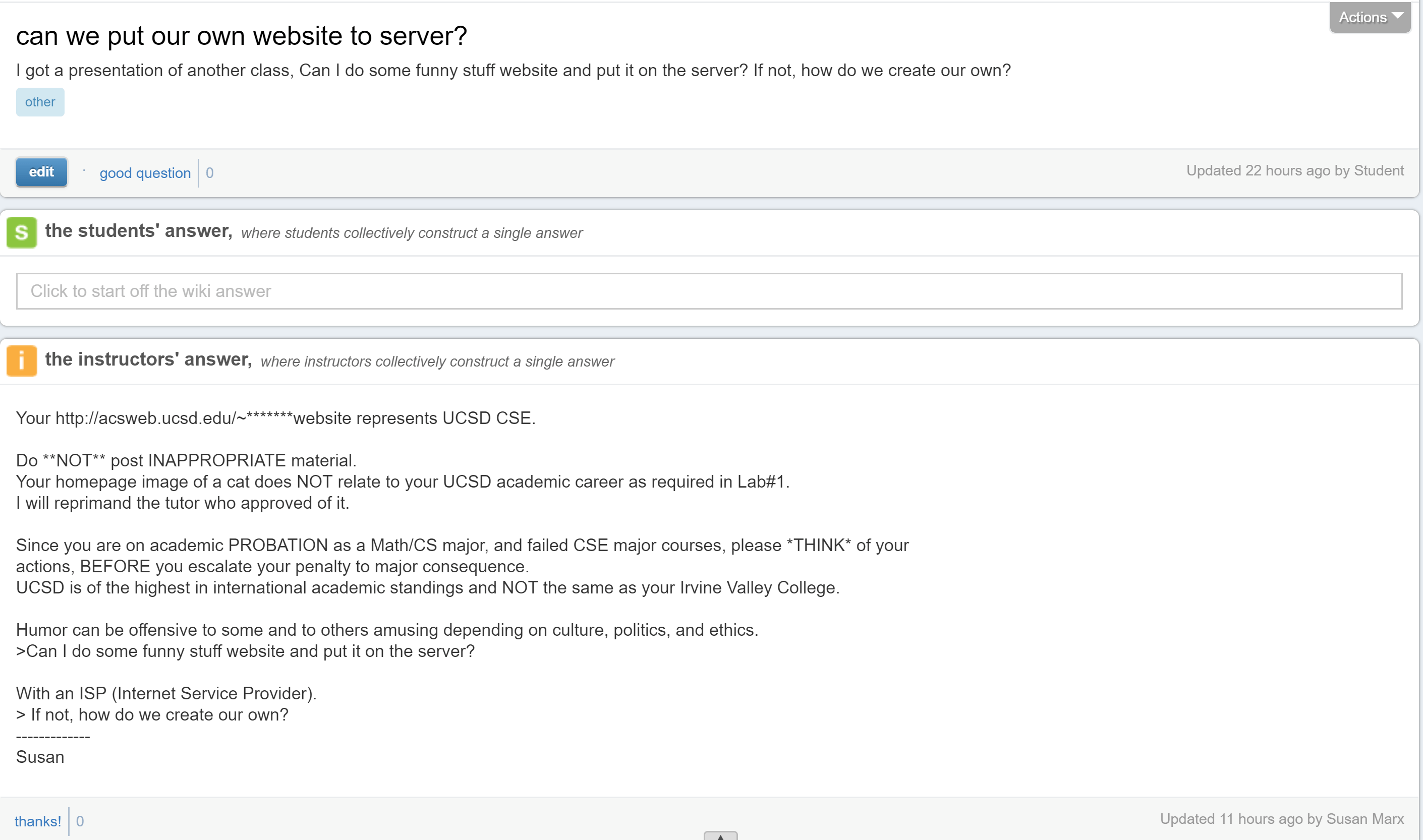 Piazza screenshot of Professor Marx's interaction with student taken from Reddit.