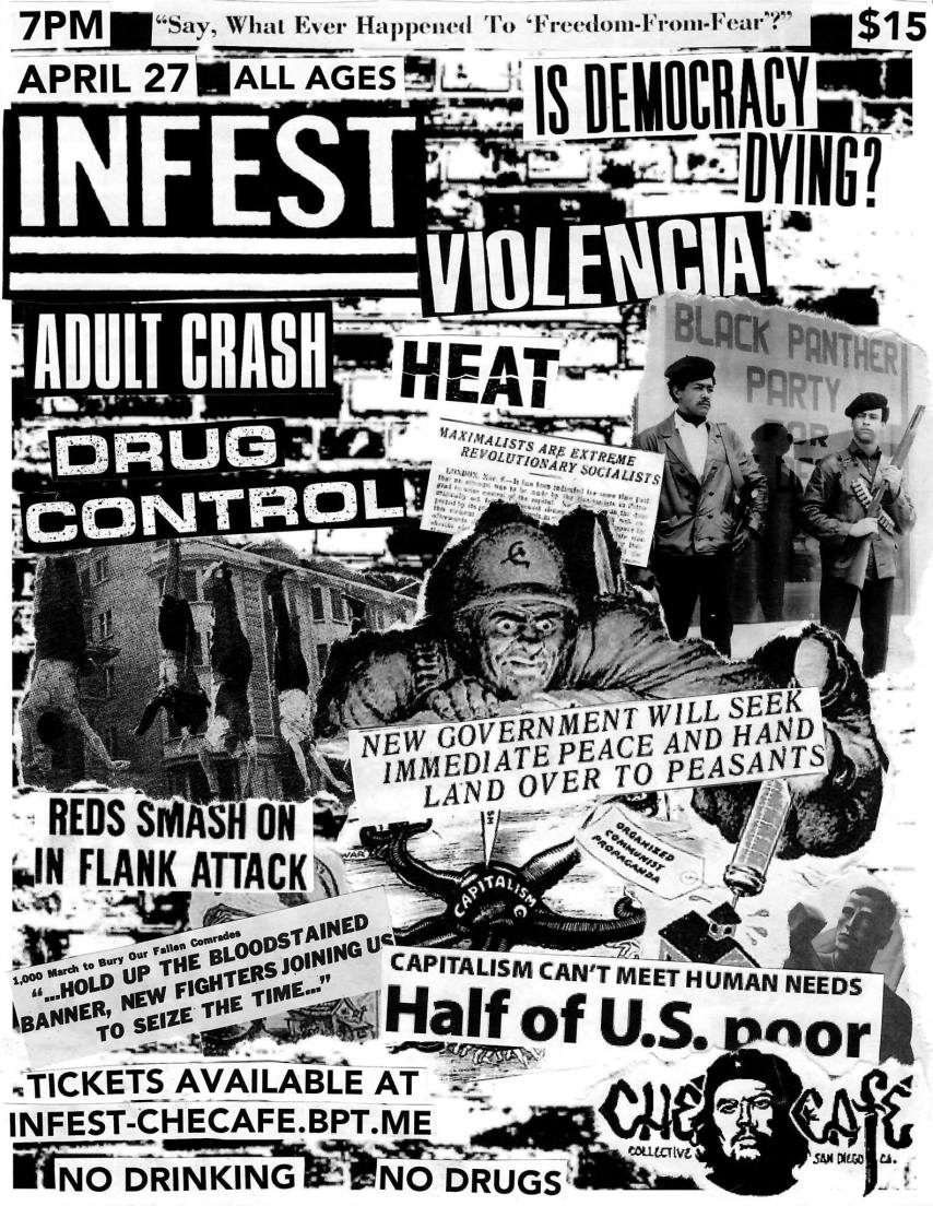 If you insist on going to Sun God Festival, do it right. Bands INFEST, HEAT, Violencia, Adult Crash, and Drug Control will be playing at the Che Café after Sun God. This is the coolest thing to happen on campus in a while so hold onto your graphing calculators, Tritons. ($15)