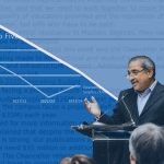 Photo of Chancellor Khosla speaking overlaid with a chart of UCSD's deficit