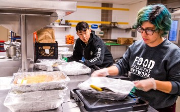 Members of the UC San Diego Food Recovery Network recovering food at Revelle dining facility.