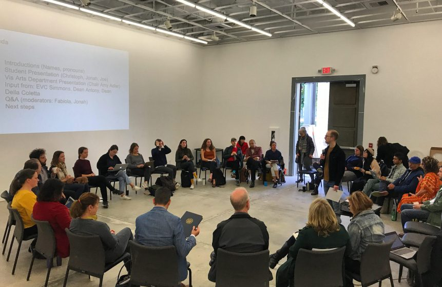 Photo of the Visual Arts Grad Student town hall