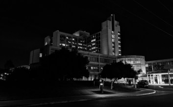 Photo in black and white of the UCSD Hillcrest Medical Center