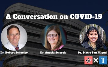 Photographs of Dr. Robert Schooley, Dr. Angela Scioscia, and Dr. Stacie San Miguel