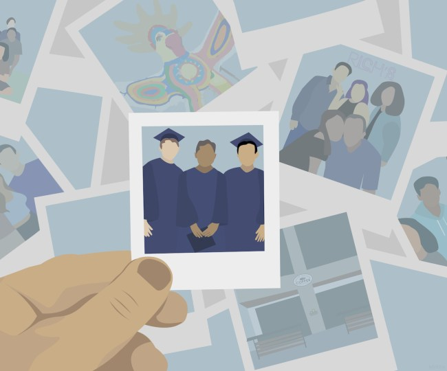 An illustration of polaroids of graduating students.