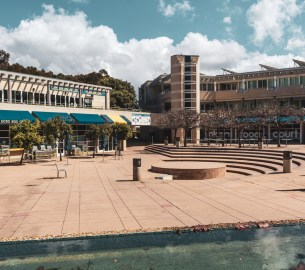 An image of the empty Price Center courtyard at UCSD.