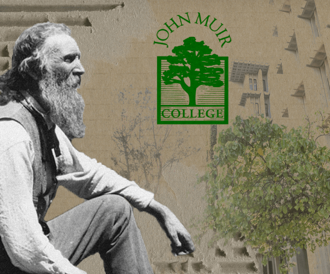 John Muir with the Muir College Logo