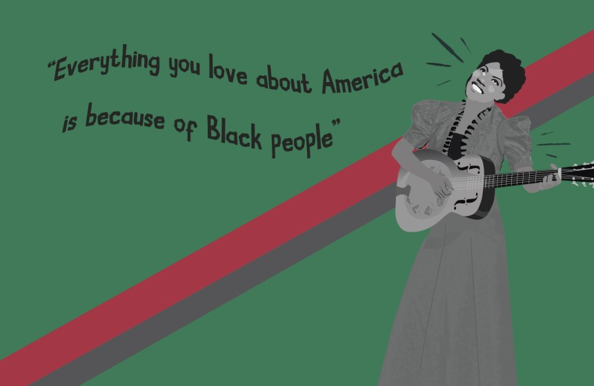 Illustration of Rosetta Tharpe playing guitar on a green background